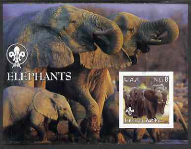 Eritrea 2002 Elephants imperf m/sheet with Scouts Logo unmounted mint