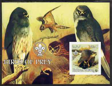Eritrea 2002 Birds of Prey imperf m/sheet with Scouts Logo unmounted mint