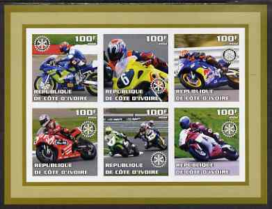 Ivory Coast 2002 Racing Motorcycles #2 imperf sheetlet containing set of 6 values (top middle No. 6) each with Rotary logo, unmounted mint