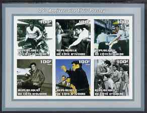Ivory Coast 2002 Elvis Presley 25th Death Anniversary #2 imperf sheetlet containing 6 values unmounted mint