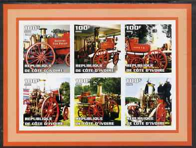 Ivory Coast 2002 Old Fire Engines #1 imperf sheetlet containing set of 6 values (top left Bridport) unmounted mint