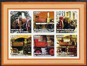 Ivory Coast 2002 Old Fire Engines #2 imperf sheetlet containing set of 6 values (lower right Gosforth) unmounted mint