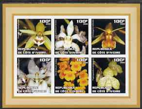 Ivory Coast 2002 Orchids #2 (brown border) imperf sheetlet containing 6 values unmounted mint