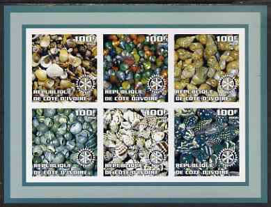 Ivory Coast 2002 Sea Shells #1 imperf sheetlet containing set of 6 values (green border) each with Rotary logo, unmounted mint