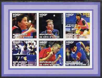 Ivory Coast 2002 Table Tennis imperf sheetlet containing set of 6 values unmounted mint