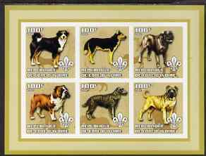Ivory Coast 2002 Dogs #2 imperf sheetlet containing 6 values each with Scout logo unmounted mint