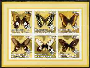 Ivory Coast 2002 Butterflies #1 (yellow border) imperf sheetlet containing 6 values each with Scout logo unmounted mint