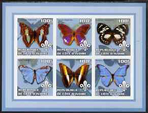 Ivory Coast 2002 Butterflies #2 (blue border) imperf sheetlet containing 6 values each with Scout logo unmounted mint