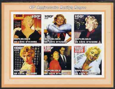 Ivory Coast 2002 Marilyn Monroe 40th Death Anniversary #1 imperf sheetlet containing 6 values unmounted mint