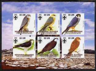 Mauritania 2002 Birds of Prey #2 imperf sheetlet containing 6 values (Falcons & Hawks) each with Scout logo unmounted mint