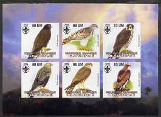 Mauritania 2002 Birds of Prey #3 imperf sheetlet containing 6 values (Eagle, Buzzards, Falcons & Hawks) each with Scout logo unmounted mint