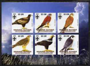 Mauritania 2002 Birds of Prey #4 imperf sheetlet containing 6 values (Eagles, Falcons & Hawks) each with Scout logo unmounted mint