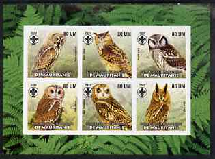 Mauritania 2002 Birds of Prey #6 pimerf sheetlet containing 6 values (Owls) each with Scout logo unmounted mint