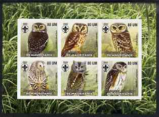 Mauritania 2002 Birds of Prey #7 imperf sheetlet containing 6 values (Owls) each with Scout logo unmounted mint