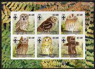 Mauritania 2002 Birds of Prey #8 imperf sheetlet containing 6 values (Owls) each with Scout logo unmounted mint