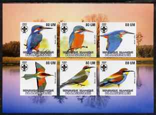 Mauritania 2002 Kingfishers imperf sheetlet containing 6 values each with Scout logo unmounted mint