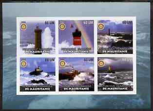 Mauritania 2002 Lighthouses #2 imperf sheetlet containing set of 6 values (green background) each with Rotary logo, unmounted mint