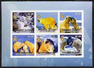 Mauritania 2002 Polar Bears #1 imperf sheetlet containing 6 values each with Rotary logo, unmounted mint
