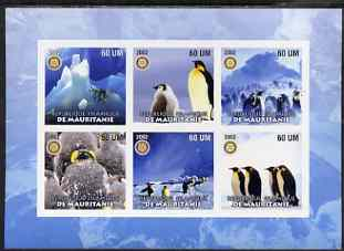 Mauritania 2002 Penguins #2 imperf sheetlet containing 6 values each with Rotary logo, unmounted mint