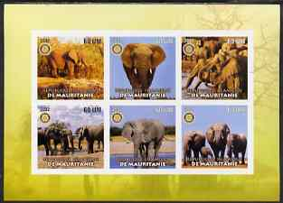 Mauritania 2002 Elephants #1 imperf sheetlet containing 6 values each with Rotary logo, unmounted mint