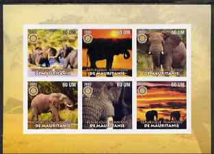 Mauritania 2002 Elephants #2 imperf sheetlet containing 6 values each with Rotary logo, unmounted mint