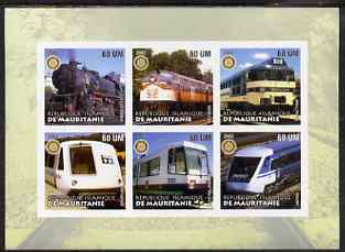 Mauritania 2002 Railway Locos #1 imperf sheetlet containing 6 values each with Rotary logo, unmounted mint