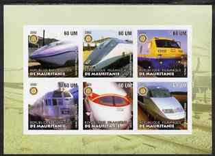 Mauritania 2002 Railway Locos #2 imperf sheetlet containing 6 values each with Rotary logo, unmounted mint