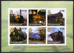 Mauritania 2002 Railway Locos #3 imperf sheetlet containing 6 values each with Rotary logo, unmounted mint