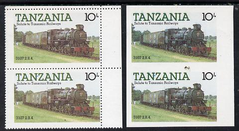 Tanzania 1985 Locomotive 3107 10s value (SG 431) unmounted mint imperf pair plus normal pair*