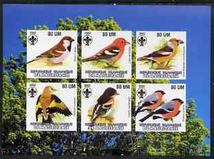 Mauritania 2002 Song Birds imperf sheetlet containing 6 values each with Scout logo unmounted mint