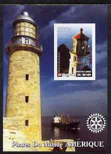 Benin 2003 Lighthouses of America imperf m/sheet #01 with Rotary Logo unmounted mint