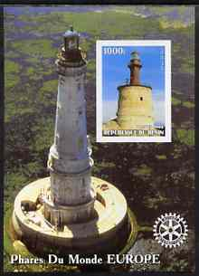 Benin 2003 Lighthouses of Europe imperf m/sheet #01 with Rotary Logo unmounted mint