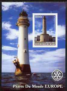 Benin 2003 Lighthouses of Europe imperf m/sheet #02 with Rotary Logo unmounted mint