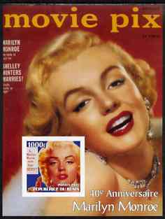 Benin 2003 40th Death Anniversary of Marilyn Monroe #05 - Movie Pix magazine imperf m/sheet unmounted mint
