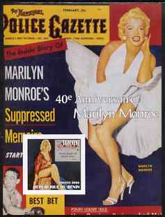 Benin 2003 40th Death Anniversary of Marilyn Monroe #04 - Police Gazette magazine imperf m/sheet unmounted mint