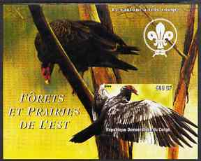 Congo 2004 Birds - Forets et Prairies de L'Est #2 (Vulture) imperf s/sheet with Scout Logo in background unmounted mint
