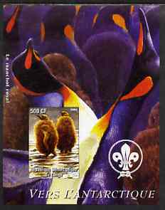 Congo 2004 Birds - Vers L'Antarctique imperf s/sheet with Scout Logo in background unmounted mint