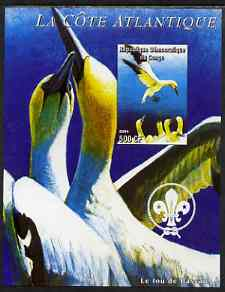 Congo 2004 Birds - La Cote Atlantique imperf s/sheet with Scout Logo in background unmounted mint , stamps on birds, stamps on gannets, stamps on scouts