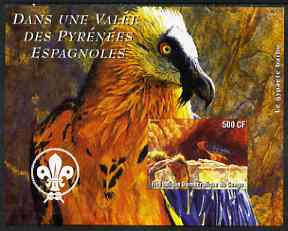 Congo 2004 Birds - Dans Une Valle des Pyrenees Espagnoles imperf s/sheet with Scout Logo in background unmounted mint