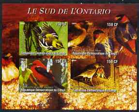 Congo 2004 Birds - Le Sud de L'Ontario imperf sheetlet containing 4 values unmounted mint
