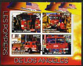 Ivory Coast 2004 Firemen of Los Angeles imperf sheetlet containing 4 values unmounted mint