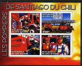 Ivory Coast 2004 Firemen of Santiago, Chile imperf sheetlet containing 4 values unmounted mint