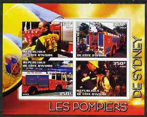 Ivory Coast 2004 Firemen of Sydney imperf sheetlet containing 4 values unmounted mint