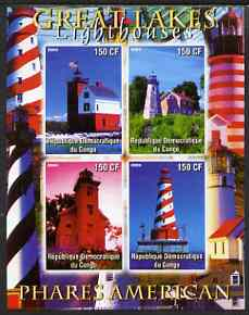 Congo 2004 Lighthouses of America (Great Lakes) imperf sheetlet containing 4 values unmounted mint