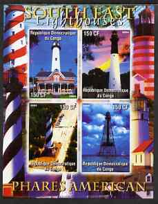 Congo 2004 Lighthouses of America (South East) imperf sheetlet containing 4 values unmounted mint