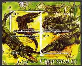 Congo 2004 Crocodiles imperf sheetlet containing 4 values unmounted mint