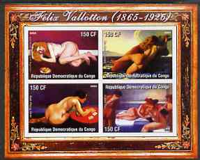 Congo 2004 Nude Paintings by Felix Vallotton imperf sheetlet containing 4 values, unmounted mint