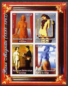 Congo 2004 Nude Paintings by Rene Magritte imperf sheetlet containing 4 values, unmounted mint