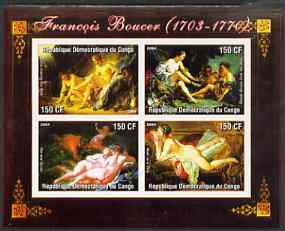 Congo 2004 Nude Paintings by Francois Boucher imperf sheetlet containing 4 values, unmounted mint