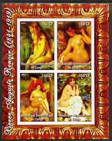 Congo 2004 Nude Paintings by Pierre Auguste Renoir imperf sheetlet containing 4 values, unmounted mint